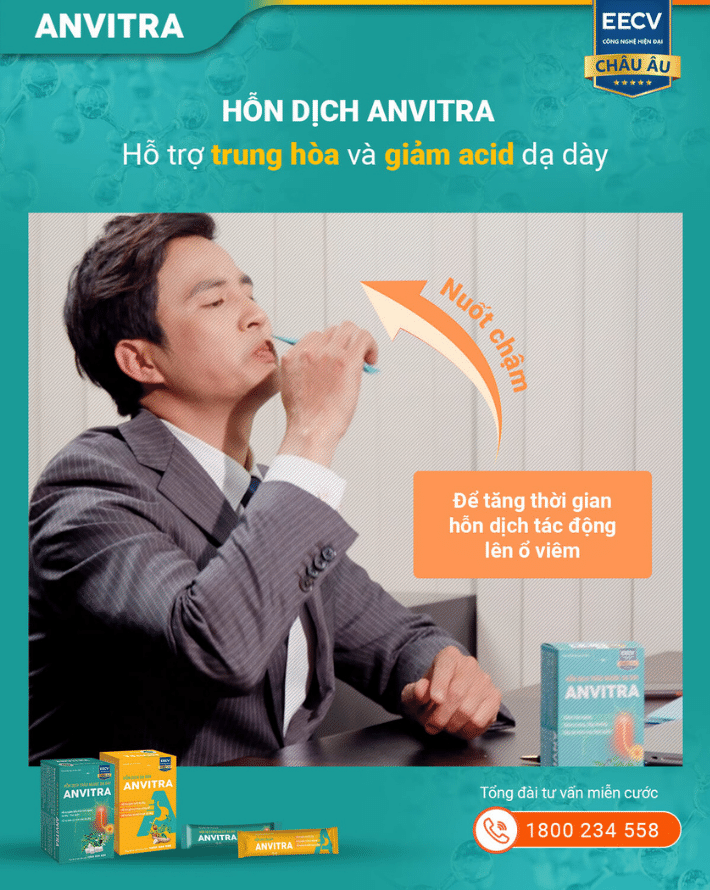 Hỗn dịch Anvitra hỗ trợ trung hòa và giảm acid dạ dày